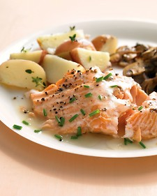 Roasted Salmon with White-Wine Sauce